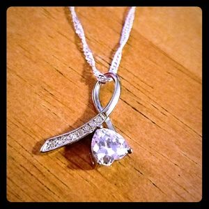 Silver Crystal Note Necklace